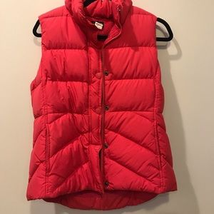 Warm, comfy J Crew puffy vest with Sherpa lining